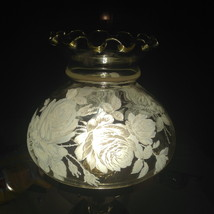 """Vintage Light Amber Lamp Shade Painted Roses Oil Electric Hurricane 6"""" F... - $29.95"""