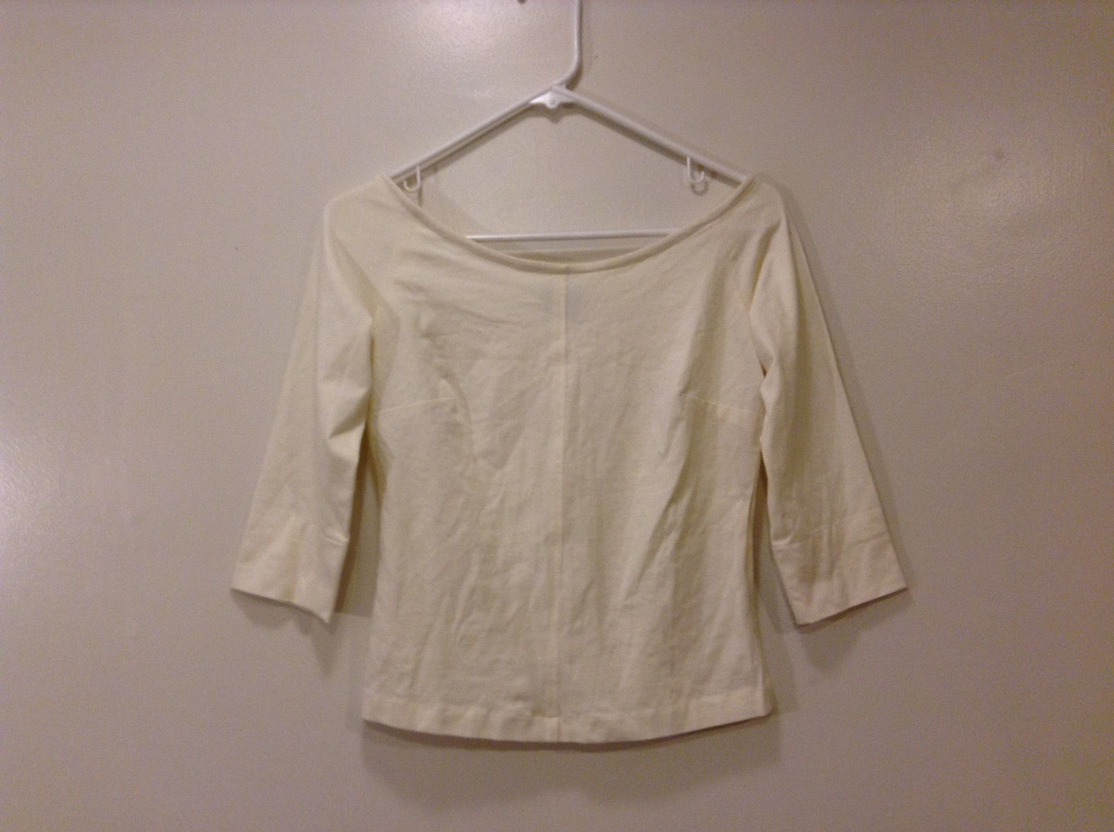 Annie Walwyn-Jones Custom Made Size S Cream Off-shoulders Boat Neck T- Blouse