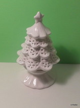 Yankee Candle Ceramic Christmas Tree Tealight Candle Holder 2012 white - $13.36