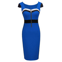European Style Pencil Sheath Contrast Color Patchwork Dress  - $40.95
