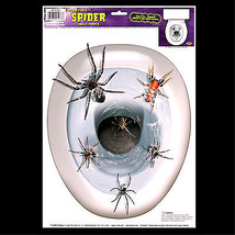 Gothic Halloween Prop-SPIDERS TOILET TOPPER-Tattoo Window Cling Decal De... - $6.90