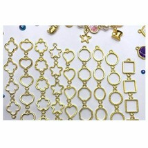 Charm Jewelry 36pcs Handmade Heart Gold Resin Bezel  Bracelet DIY Neckla... - $9.89