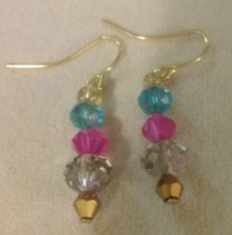 Artisan Handmade Gold Plated Multi Color Glass Crystal Dangle Earrings J... - $5.59