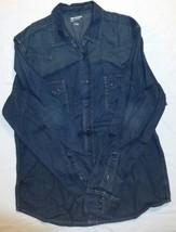 Mens Large Arizona Dark Blue Denim Long Sleeve 100% Cotton Shirt - $23.38
