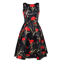 Women Floral Print Round Neck Backless Dress - $40.95