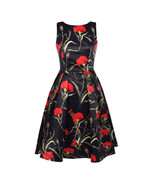 Women Floral Print Round Neck Backless Dress - $40.95
