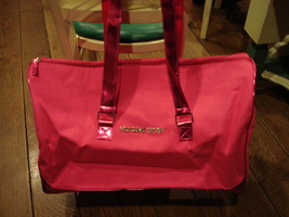 Lg Hot Pink Victoria's Secret Duffel Bag Travel Case w/ Metallic Trim New Nwt - $62.95