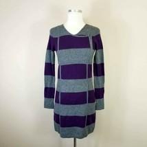 BCBG MaxAzria Purple & Gray Striped Lambswool Sweater Dress XS - $21.99