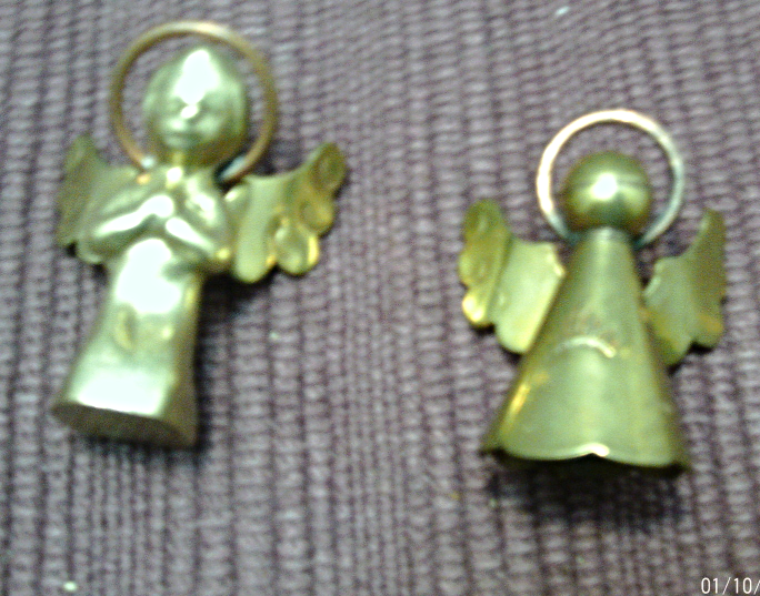 Vintage Set of 5 BrassGold Angel Figurines // Christmas Angels / Made in Mexico