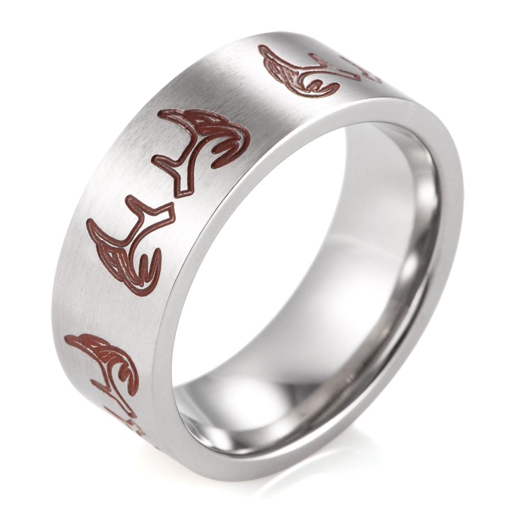 8MM Men's Titanium Deer Antler Ring Outdoor Hunting Wedding Band - $34.98