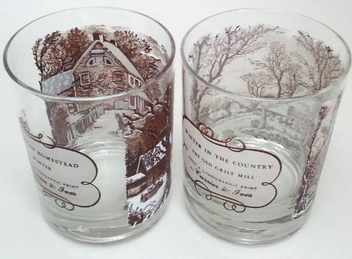 Currier & Ives On the Rocks Glasses Set of 2