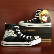 Anime Shoes Death Note Design Design Converse All Star Hand Painted Shoes Unisex - $145.00
