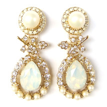 Frosted Pearl Crystal Leaf Teardrop Gold Elegant lovely Drop Dangle Earr... - $10.99