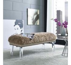 Horchow Massoud Jonathan Adler Look Mongolian Fur Bench Lucite Legs & Na... - $529.65