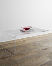 Horchow Crystalline Acrylic Clear French Modern Coffee Table Waterfall $925 - $682.11