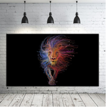 "Large Modern Print On Canvas Colorful Unique Lion Portrait Wall Art 24x40"" - $39.59"