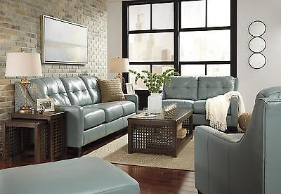 Ashley O'Kean Living Room Set 3pcs Authentic Leather Sky Contemporary Style