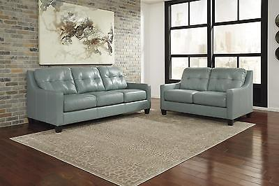 Ashley O'Kean Living Room Set 2pcs Authentic Leather Sky Contemporary Style