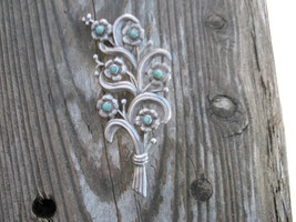 Mexico Silver Brooch Turquoise Flower Art Nouve... - $200.00