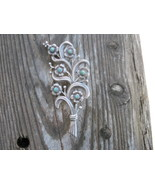 Vintage Mexico Brooch Turquoise Flower Art Nouveau Old Sterling silver - $90.00