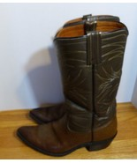 Vintage Men's Full Leather Cowboy Western Boots Sz 7 1/2D Made in USA - $55.99
