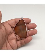 70 cts Brown Agate Slice Pendant Electroplated Silver Plated from Brazil... - $6.00