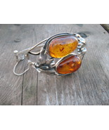 Natural Baltic Honey Amber cuff Bracelet Vintage Sterling Silver  - $230.00
