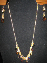 Dark Brown Iridescent Crystal Necklace & Matching Dangle Earrings - $15.14
