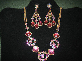 Beautiful Crystal Studded Necklace & Matching Chandelier Earrings - $17.80