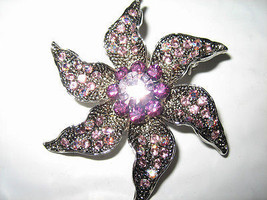Gorgeous Crystal Studded Flower Petal Pin - $7.12