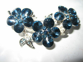 Gorgeous Blue Crystal Studded Trio of Flowers Pin - $8.01