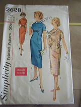 Vintage 1950's Simplicity 2628 Teen Girl Dresses Pattern - Size 12 Bust 32 - $9.80