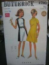 Butterick 4795 Misses A-Line Dress Pattern - Size 14 Bust 36 - $10.69
