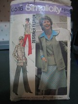 Simplicity 6516 Cardigan, Top, Pants & Bias Skirt Pattern - Size 14 Bust 36 - $6.72