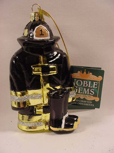 Kurt Adler C4568 Kurt Adler Firemans Coat Hat Boots Glass Christmas Ornament New