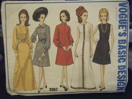 Vogue Basic Design 2067 Misses A-Line Dress in 2 Lengths - Size 8 Bust 31 1/2 - $15.16