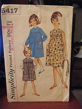 Vintage 1960's Simplicity 5417 Girl's Dress or Jumper Pattern - Size 6 B... - $5.35