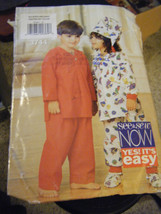 Butterick See & Sew 3744 Kid's Pajamas, Hat & Booties Pattern - Size XS/... - $5.35