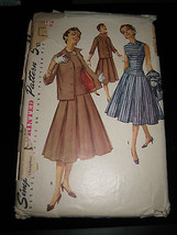 Vintage 1950's Simplicity #1507 Misses Dress & Jacket Pattern - Size 14 - $11.57