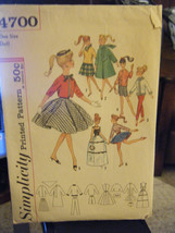 Vintage 1960's Simplicity 4700 Barbie Doll Clothes Pattern - $11.58