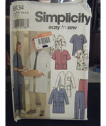 Simplicity 9334 Misses & Men's Scrub Jacket, Top & Pants Pattern - Size XS/S/M - $7.13