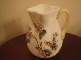 Vintage Handpainted Floral Design Fluted Pitcher With Handle - $19.59