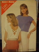 Butterick See & Sew 5385 Misses Open Back Top Pattern - Size 12/14/16 - $6.24