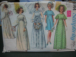 Simplicity 8144 Wedding & Bridesmaid's Dress Pattern - Size 12 Bust 34 - $10.09