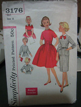 Vintage 1960's Simplicity 3176 Girl's Dress Pattern - Size 8 - $9.25