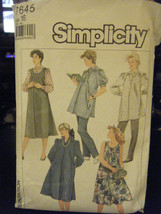 Simplicity 7645 Maternity Pants, Dress, Jumper or Top Pattern - Size 16 Bust 38 - $6.24