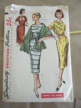 Vintage 1950's Simplicity 1446 Misses Dress & Stole Pattern - Size 12 Bu... - $13.37