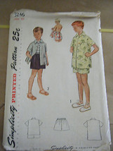 Vintage 1950's Simplicity 3246 Boy's Beach Shirt & Swim Shorts Pattern -... - $12.46