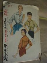 Vintage 1950's Simplicity 1226 Misses Blouse Pattern - Size 12 Bust 30 - $13.37