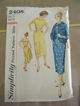 Vintage 1950's Simplicity 2408 Misses Dress & Jacket Pattern - Size 13 B... - $15.16